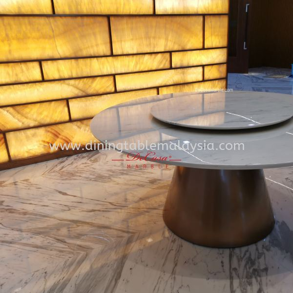 Majestic Round Marble Dining Table | Sivec White | Dia6ft 10 seaters
