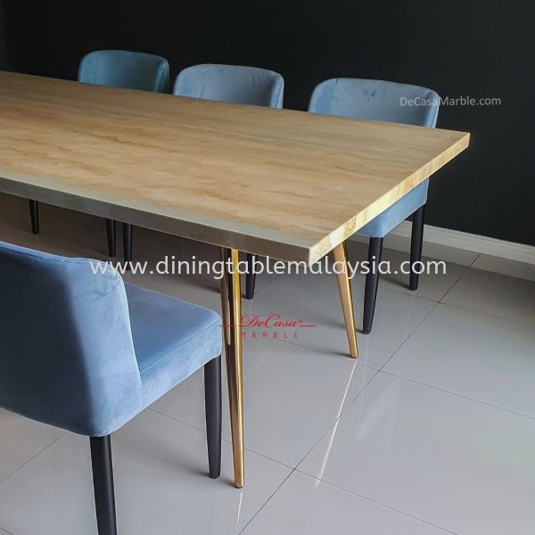 Modern Beige Marble Dining Table | Roma Travertine | 8 seaters