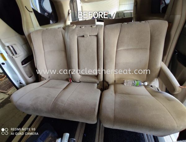 TOYOTA VELLFIRE SEAT REPLACE FROM FABRIC TO SYNTHETIC LEATHER/SEAT BALUT/SEAT TUKAR LEATHER