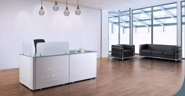 Reception counter with tempered glass and metal front panel AIM Block System Office Workstation Malaysia, Selangor, Kuala Lumpur (KL), Seri Kembangan Supplier, Suppliers, Supply, Supplies | Aimsure Sdn Bhd