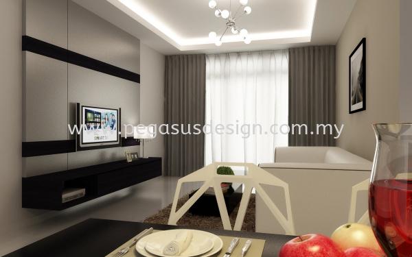 Living Room Design Johor Bahru (JB), Taman Universiti, Skudai Contractor, Service   Pegasus Design & Build Sdn Bhd