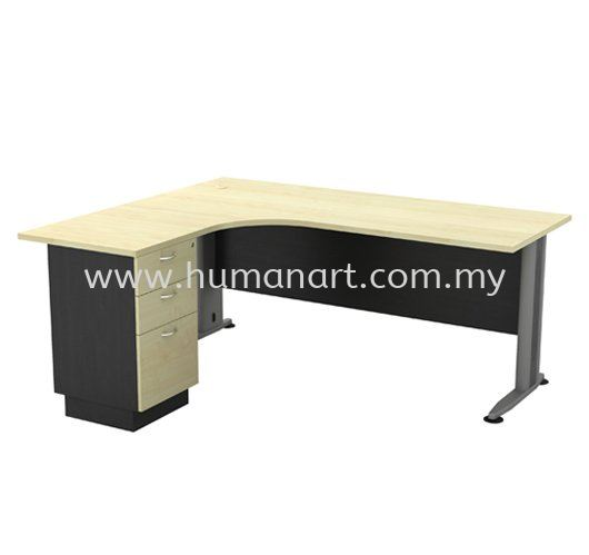 L-SHAPE TABLE METAL J-LEG C/W FIXED PEDESTAL TL 1515-3D (INNER)  T2 Series Executive Table Kuala Lumpur (KL), Malaysia, Selangor Supplier, Suppliers, Supply, Supplies | Human Art Office System