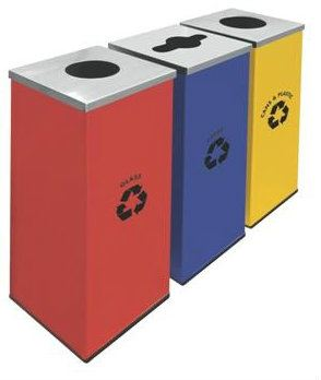 Square Recycle Bins c/w Mild Stainless Steel Cover 129