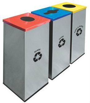EH Square Recycle Bin c/w Stainless Steel Body & Mild Steel Cover 128