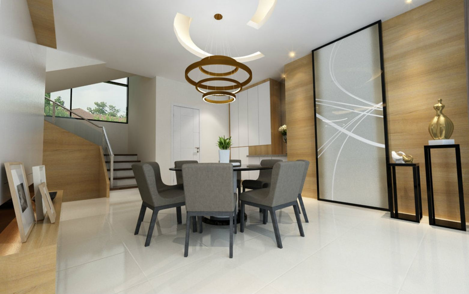 Dining Area with sliding door feature wall