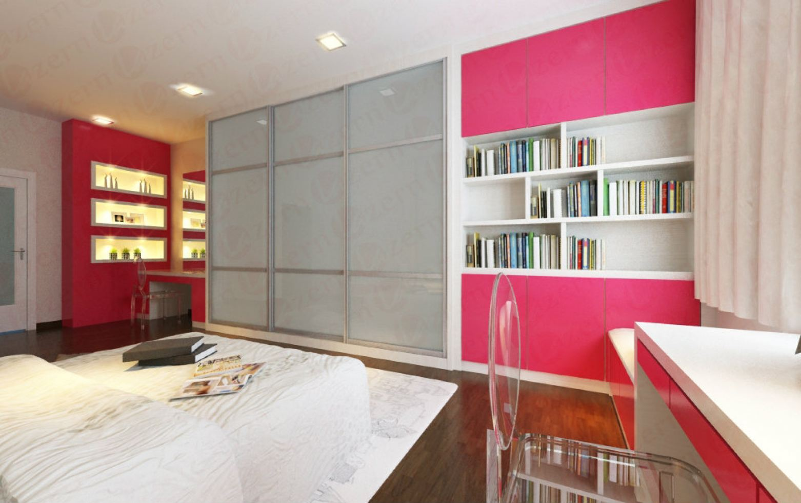 Pink and White bedrooms seem like a clever combination of the opposites.