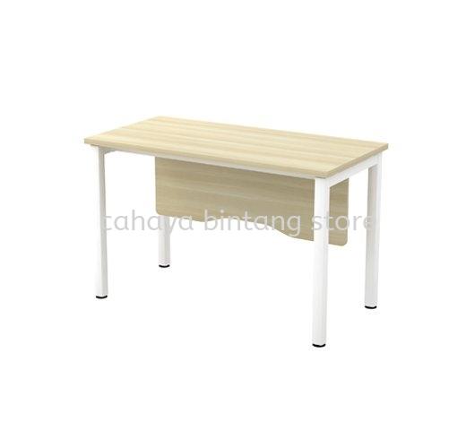 MUPHI RECTANGULAR WRITING OFFICE TABLE METAL OCTAGON LEG C/W WOODEN MODESTY PANEL (W/O TEL CAP) ASWT 126
