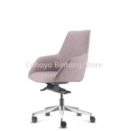 ANTHOM EXECUTIVE MEDIUM BACK LEATHER CHAIR C/W ALUMINIUM BASE AT6612L-16