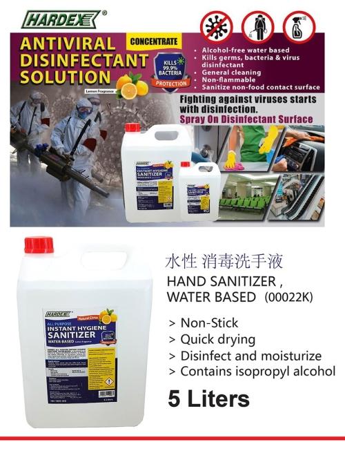 5 LT  HARDEX HAND SANITIZER-WATER BASED-00022K