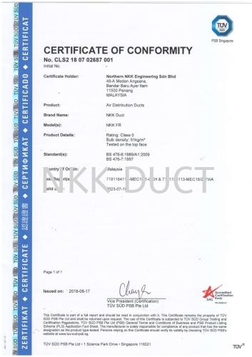 CORPORATE CERTIFICATION OF CONFORMITY 2018 SINGAPORE