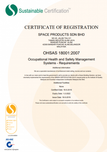 Certificate of OHSAS