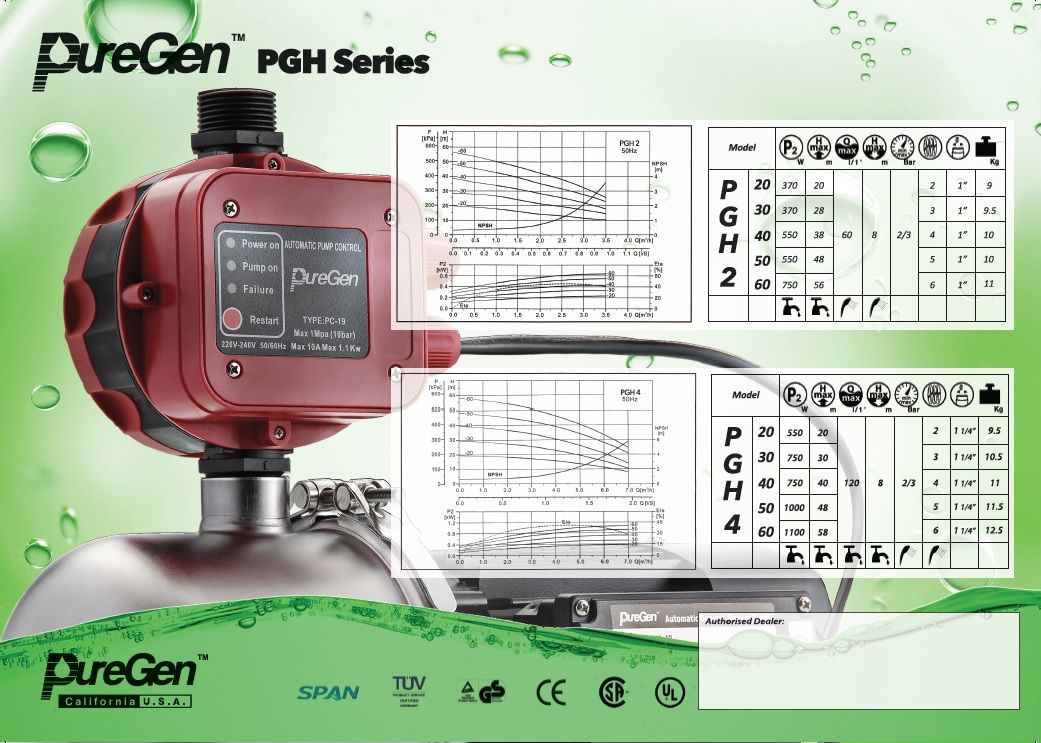 PUREGEN PGH Series Water Pressure Pump Catalogue