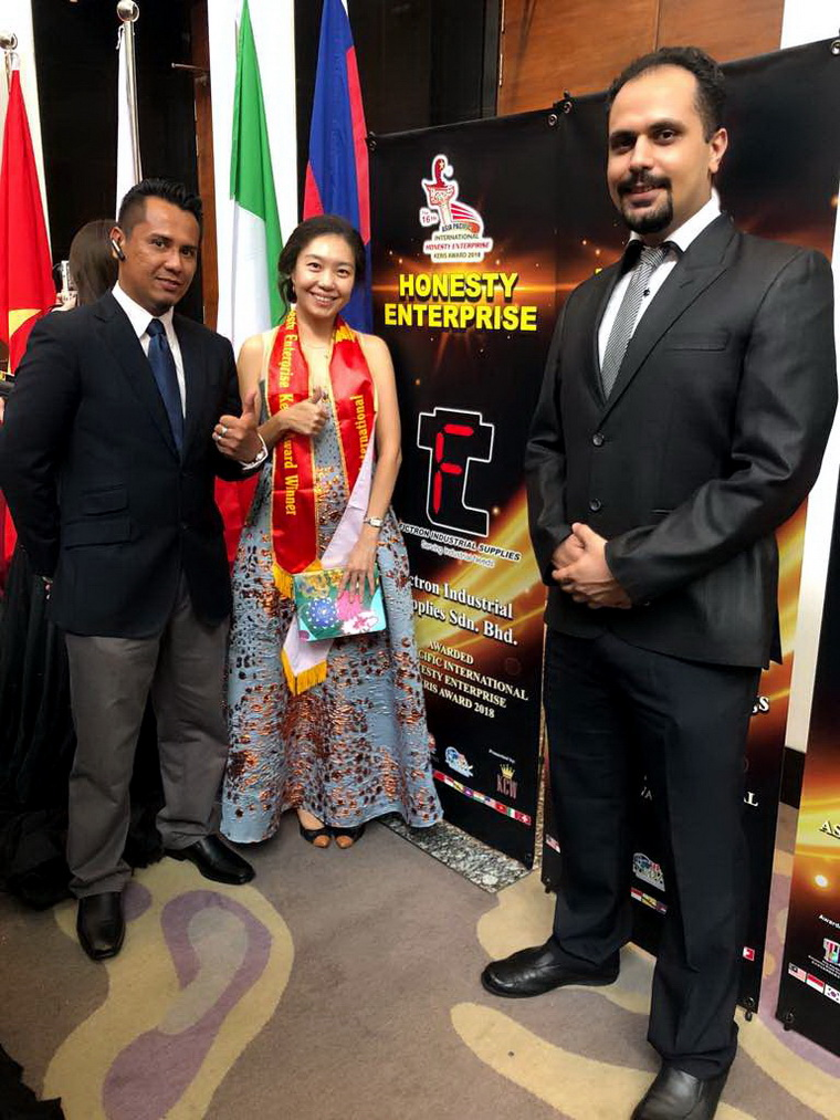 16th Asia Pacific International Honesty Enterprise - Keris Award is presented to Fictron Industrial Supplies on May 14 2018.