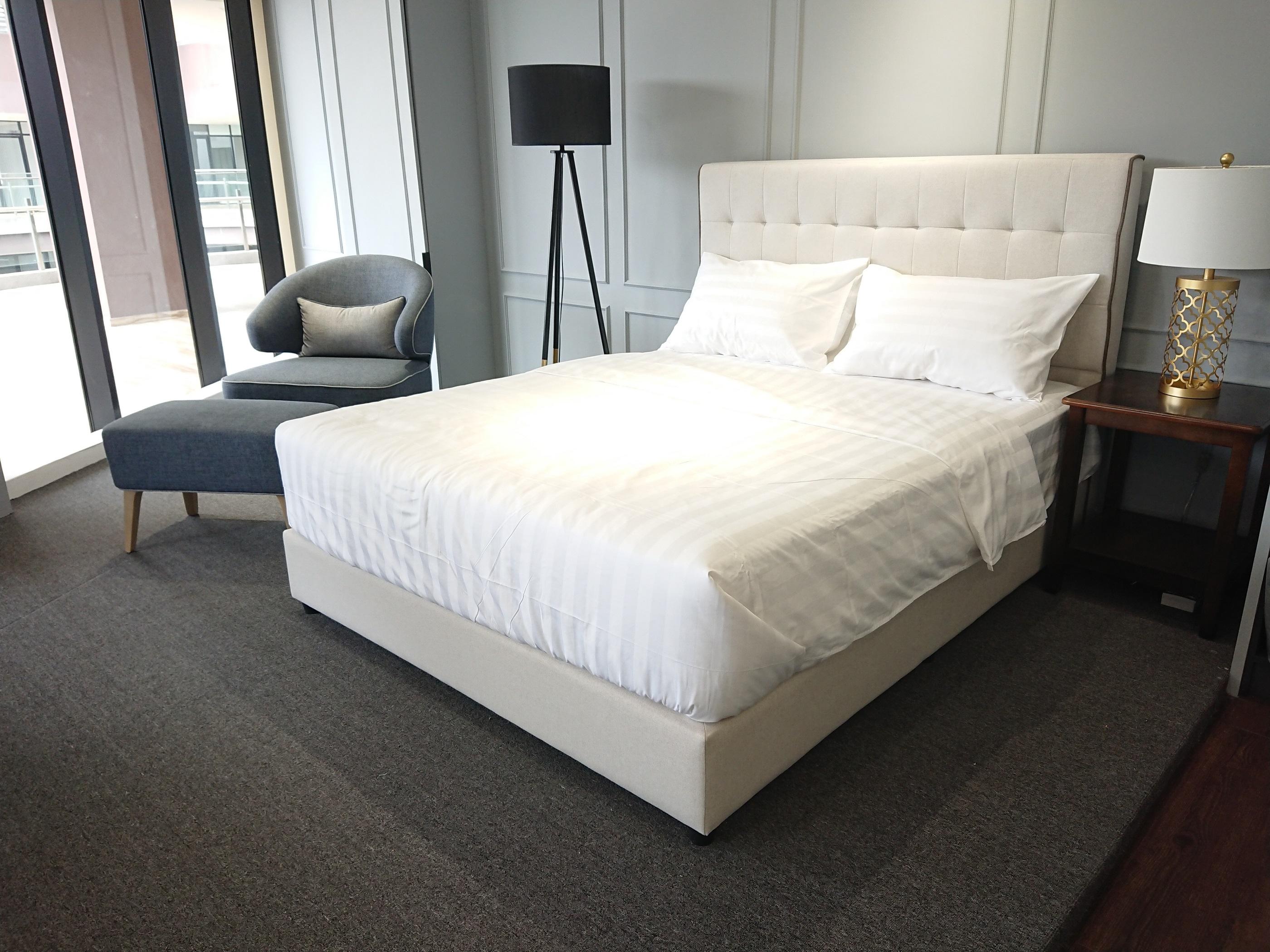 Luxez 3cm Stripe Hotel Bed Linen Bed Sheet Duvet Cover Pillow Case
